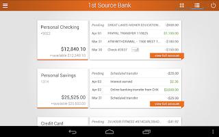 Screenshot of 1st Source Bank Mobile