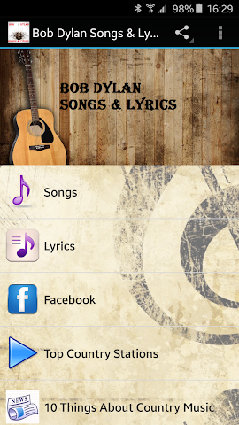 android Bob Dylan Songs & Lyrics Screenshot 0