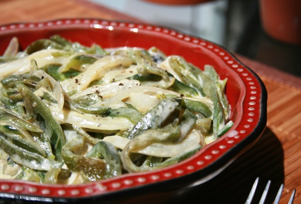 Cheesy Roasted Poblanos (Rajas Con Crema) Recipes — Dishmaps