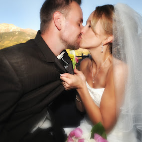 Happily Married in the Mountains by Melanie Metz - Wedding Bride & Groom ( love, mountains, kissing, married, wedding, colorado, bride, groom )