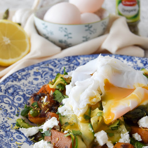 Squash & Asparagus Hash With Poached Duck Egg