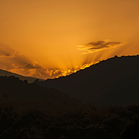 by Alessandra Antonini - Landscapes Sunsets & Sunrises ( clouds, mountains, sunset, yellow, landscape,  )