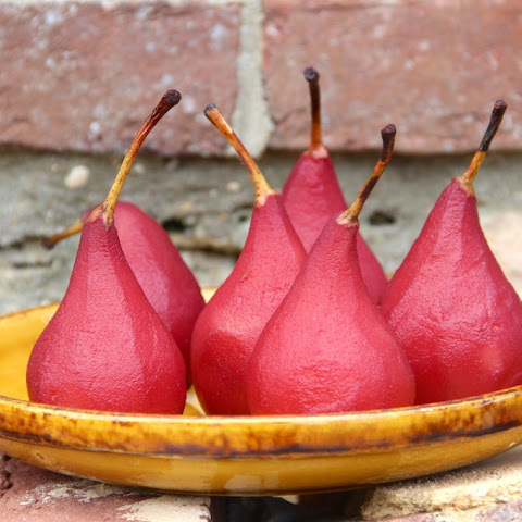 Red Wine Poached Pears
