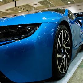 Bmw I8 by Iordan Daniel Teodorescu - Transportation Other ( car, speed, blue, i8, bmw )
