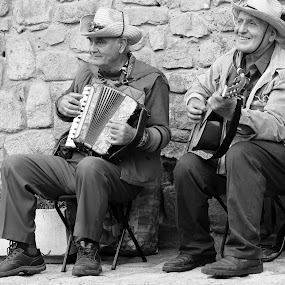 Two musicians by Sergey Sokolov - Black & White Street & Candid ( urban exploration, black and white, bw, guitarist, musician, instrument, street scene, view, entertainment, entertainer, accordeon, city,  )