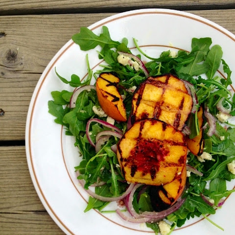Grilled Peach & Arugula Salad W/ Blue Cheese