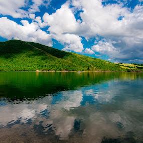 Reflection on the lake by Mauro Fini - Landscapes Waterscapes ( cingoli, dyke, lake, castreccioni )