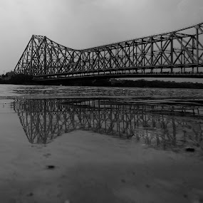 Howrah  by Sudip Chowdhury - Buildings & Architecture Bridges & Suspended Structures ( water, black and white, bridge )