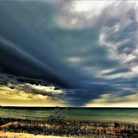 Cloud Formation over Lake Michigan by Kathy Booth - Landscapes Cloud Formations ( water, cloud formations, clouds, michigan, lake michigan, waterscape, weather, cloudscapes, cloudscape, weather front, cloud formation )