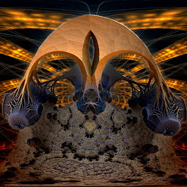 The Skull Factor by Rick Eskridge - Illustration Sci Fi & Fantasy ( jwildfire, mb3d, fractals, acdsee 19, twisted brush )