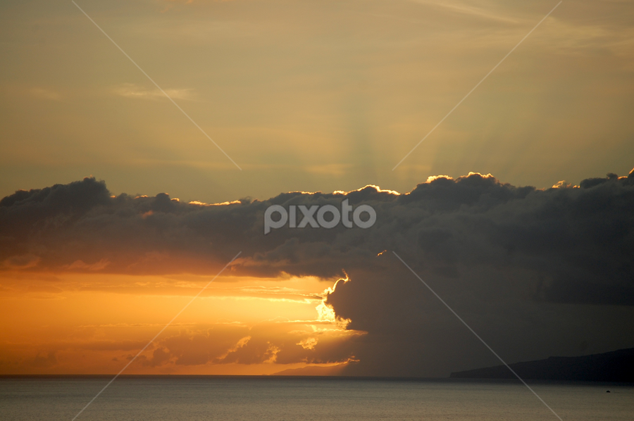 Half sunset by Emilie Robert - Landscapes Sunsets & Sunrises ( half, shadow, double, part, yellow, clouds, twilight, two, sea, orange, split, sunset, fire, faces )