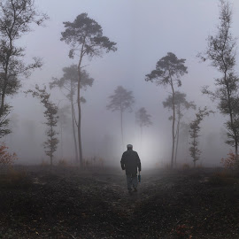 IMG101 by Frank Quax - Digital Art People ( forrest, editing, fog, street, people, photoshop )