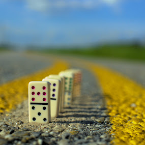 playing in traffic by Earl Wyant - Artistic Objects Toys ( colorful, shallow, color, street, toys, lines, road, yellow, dominoes,  )