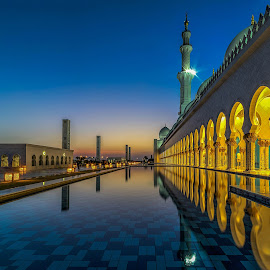 Sheikh Zayed Grand Mosque by Karim Eldeghedy - Buildings & Architecture Places of Worship ( reflection, sky, hdr, sunset, blue hour, mosque, reflections, long exposure, abu dhabi, city at night, street at night, park at night, nightlife, night life, nighttime in the city,  )