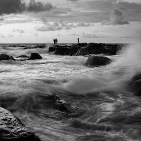 roaring waves by Macbrian Mun - Landscapes Waterscapes ( water, waterscape, waves, white, sea, ocean, pwcbwlandscapes, landscapes, rocks, black )