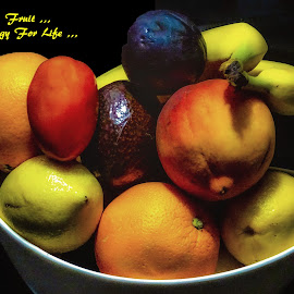 Fruit Bowl by Dave Walters - Typography Captioned Photos ( fruit, colors, healthy, nature up close, typography,  )