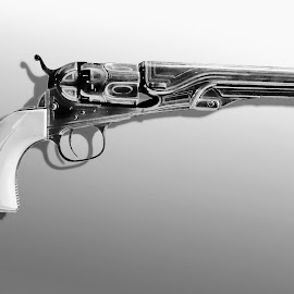 ENGRAVED navy colt by Gerry Slabaugh - Black & White Objects & Still Life ( engraved navy colt, colt, engraved, navy, revolver )
