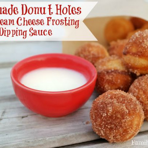 Homemade Donut Holes with Cream Cheese Frosting Dipping Sauce