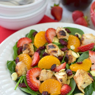 Strawberry Orange Spinach Salad with Chicken