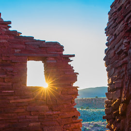 Wupatki Ruins, Arizona by Richard Duerksen - Buildings & Architecture Decaying & Abandoned ( sunset, arizona, ruins, wupatki, golden hour, anasazi,  )