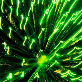 Green by Jennifer  Loper  - Public Holidays July 4th ( celebration, green, yellow, july 4th, fireworks )