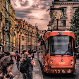 Prague Street by Adam Lang - City,  Street & Park  Street Scenes ( sky, street, buildings, czech, tram, people, prague )