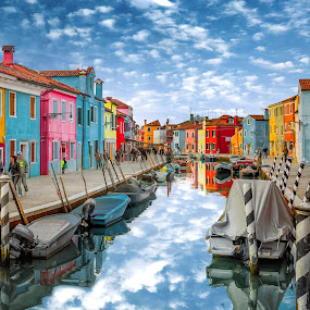 Burano by Nick Moulds - City,  Street & Park  Neighborhoods ( houses, venice, burano, canal, italy, colours,  )