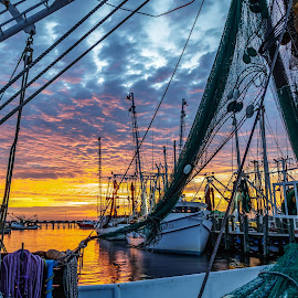 Going home time by Shutter Bay Photography - Transportation Boats ( waterscape, colorful, sunsets, boats, landscapes )