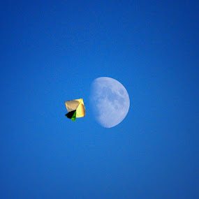 Fly To Moon by Nazir Gohar - Digital Art Abstract ( moon, inspiration, sky, hdr, fly, art, kite, photography, nikon d90, photoshop )