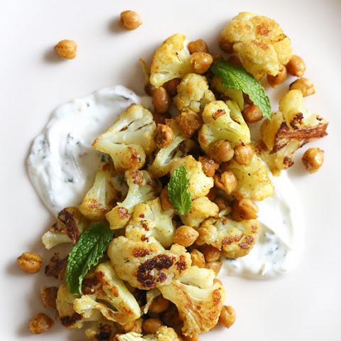 Roasted Cauliflower and Chickpeas with Minted Yogurt