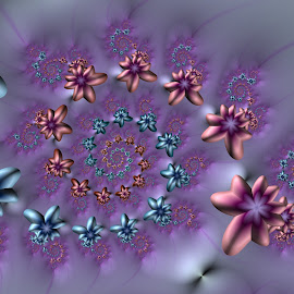 Spring flowers by Cassy 67 - Illustration Abstract & Patterns ( abstract art, swirl, digital art, harmony, swirls, spiral, flowers, fractal, spring, digital, fractals, flower )
