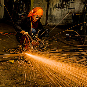 The IronLady by Mishesh Ramesh - Professional People Factory Workers ( work, metal, woman, yellow, sparks )