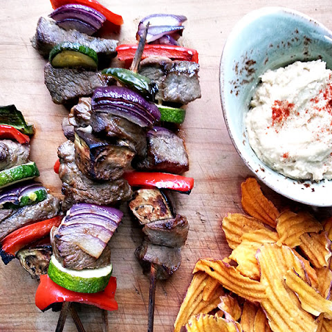 Flap Meat Beef Kebabs With Hummus