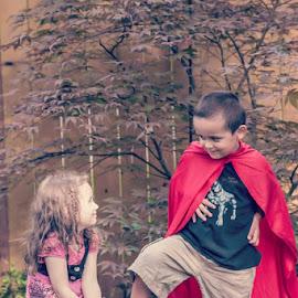 Super by Jenny Hammer - Babies & Children Children Candids ( super hero, girl, cute, cousins, boy, kids )