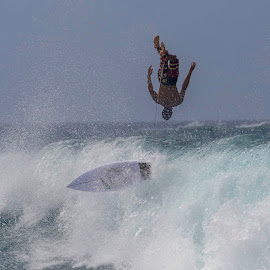 Over He Goes by Janet Marsh - Sports & Fitness Surfing ( honokeana bay, air, high surf, maui surfing,  )