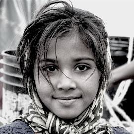 YOUNG VILLAGE GIRL by Doug Hilson - Black & White Portraits & People ( face, desert, girl, village, innocence, sweet face, eyes beautiful, india, young girl, hair, beautiful face, portrait )