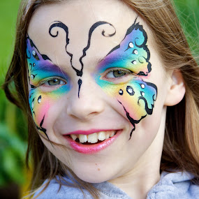 Girl at the Garden Party by Joe Proctor - Novices Only Portraits & People ( face, girl, girl face paint portrait garden, paint, portrait )