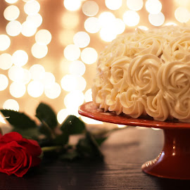 Stay in Love by Avishek Bhattacharya - Food & Drink Candy & Dessert ( marriage anniversary, floral icing, cake on cake stand, white cake, cake, red velvet )