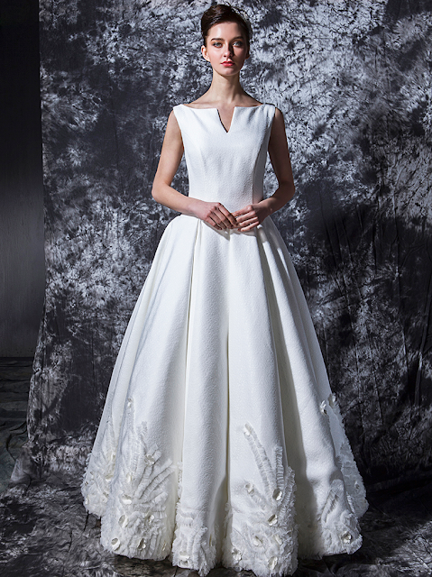 Wedding Gown In Unique Textured Fabric Is Ideal For A Winter Ceremony The Low Waist Bodice Features Bateau Neckline With Decorative Small V Detail