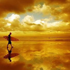 Walking between Cloud by Suloara Allokendek - People Street & Candids ( walking, cloud, beach, men, golden )