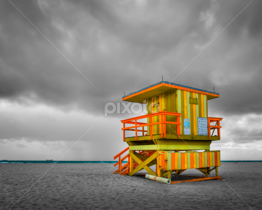 Miami Beach Lifeguard Tower by Tim Azar - Landscapes Travel ( photomatixpro4, orange, hdr, miami beach, florida, miami, cloudy, beach, yellow, architecture, lifeguard tower, south beach )