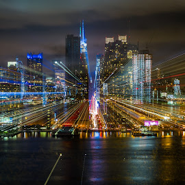 by Ronny Mariano - City,  Street & Park  Skylines ( gotham, cloudy sky, 2015, vibrance, city lights, zoom blur, cityscape, nyc, new york, nyc skyline, city )