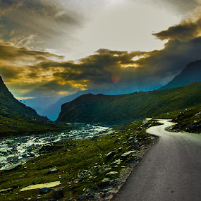 WINTER SUNSET by DrArindam Ghosh - Landscapes Travel ( clouds, hills, mountains, winter, sunset, road, travel )