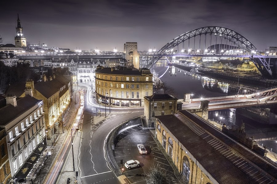 city lights by Adam Lang - City,  Street & Park  Night ( trailing light, river tyne, quyside, newcastle, swing bridge )