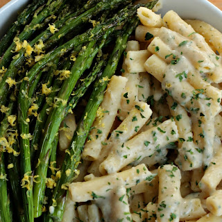 Creamy Lemon Ziti with Roasted Asparagus