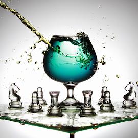 Splashing around! by Peter Salmon - Artistic Objects Glass ( water, splash, chess, glass, board )