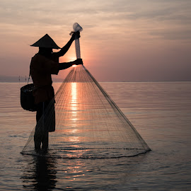 Bali, Sunrise, Fisherman by Kelly Gordon - People Street & Candids ( bali, sunrise, fisherman,  )