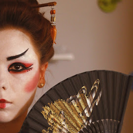 Geisha mood by Crissa Iio - People Body Art/Tattoos ( red, geisha, makeup, japanese, fan, culture, black, asian )