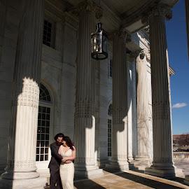 DC Couple by Glen Fortner - Wedding Bride & Groom ( daughters of the american revolution, dc, washington, winter, wedding, capital )
