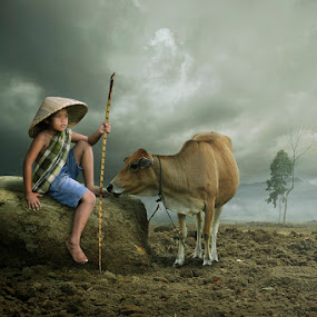 you & me by Chegu Diman - People Fine Art ( diman, village, interest, asia, cow, human interest, children, rol, chegu, human )